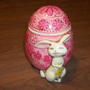 Pink floral egg with rabbit Easter decor
